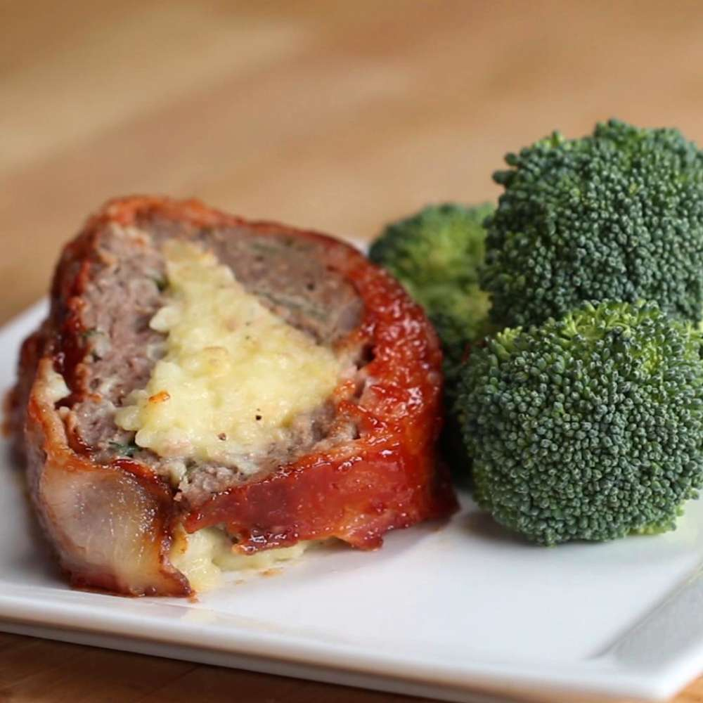 Bacon Wrapped Mashed Potato Stuffed Meatloaf Tasty Recipes
